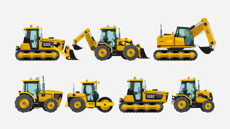 tractors vehicles side view set on white Ilustracja