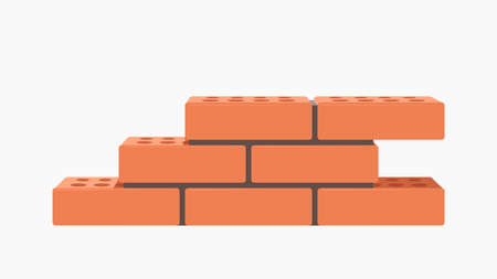small wall of red bricks on white