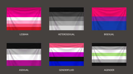realistic colorful sexual flags set with folds Ilustracja
