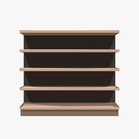 commercial empty brown shelf on white background