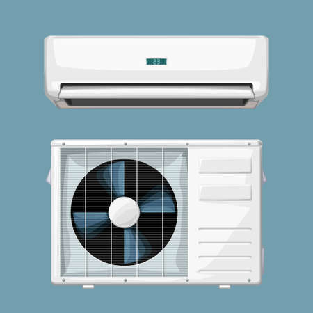 white split air conditioner system on blue