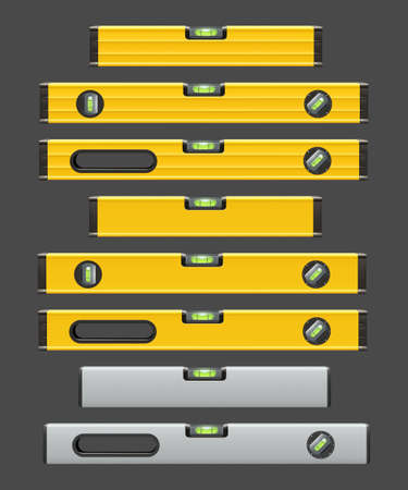 construction level tools set on grey color