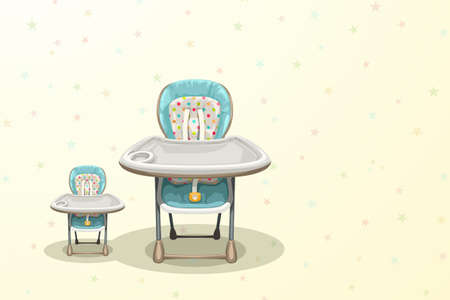 front view baby highchair on colorful back Vecteurs
