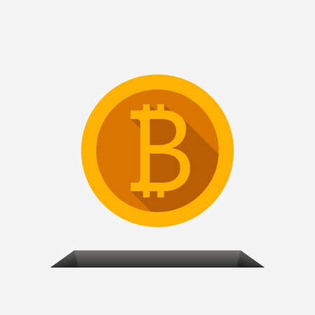 golden bitcoin front view falling in hole Ilustracja