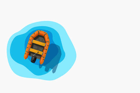 orange inflatable boat on water on white Иллюстрация