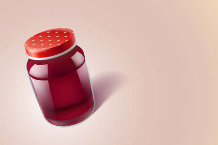 realistic glass food jar with red liquid