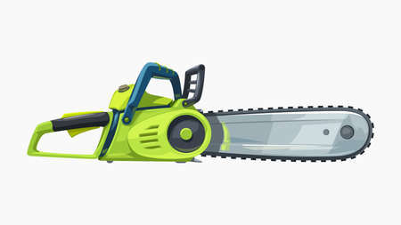side view green chainsaw realistic on white Ilustracja