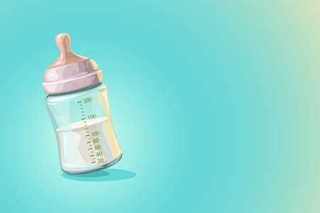 transparent baby bottle with milk on blue
