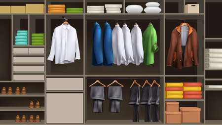 big male wardrobe full of realistic clothes