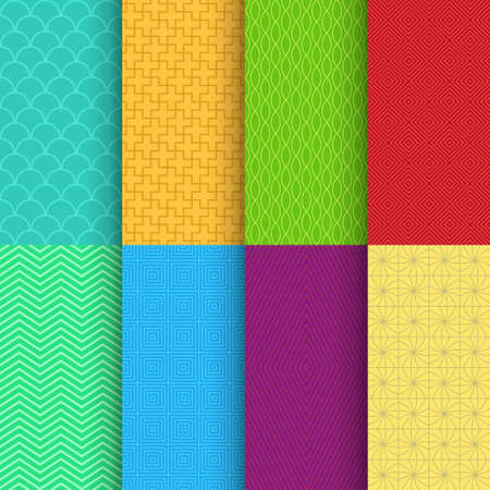 bright retro seamless pattern back in set