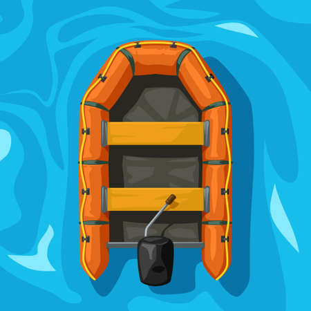 orange color inflatable boat on blue water