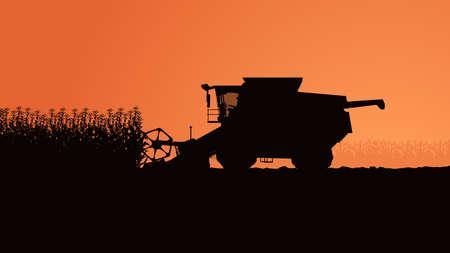 side view harvester silhouette with plants Vektorgrafik
