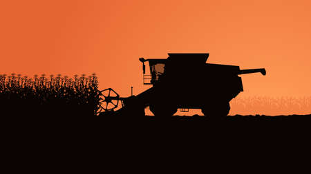 side view harvester silhouette with plants