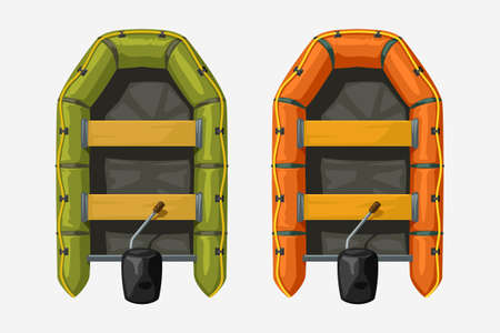 two inflatable boats top view on white