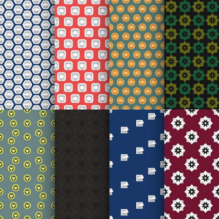 various complex seamless back patterns in set