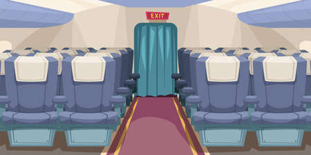 empty plane interior with aisle in middle 免版税图像 - 157544637