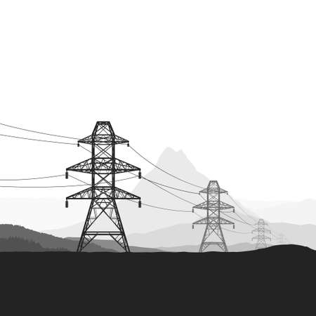 image of electric towers in nature silhouette