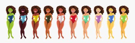 various female human ethnic diversity in set