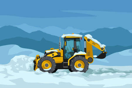 yellow color tractor clearing snow side view Иллюстрация