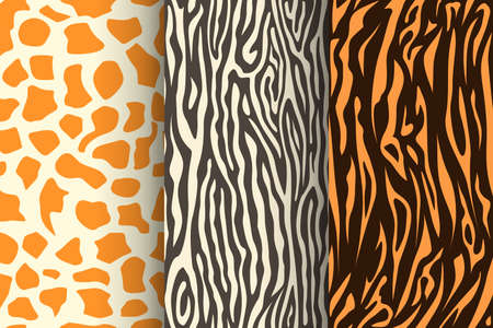 animal skin seamless patterns in set