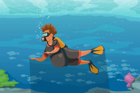 cartoon man in tropical water with scuba