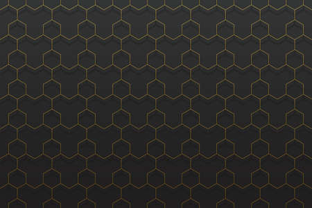 gold metal geometric seamless pattern on black Ilustracja