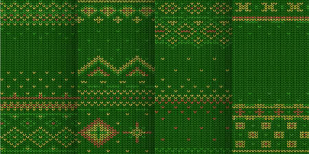 green color theme seamless pattern in set Ilustracja
