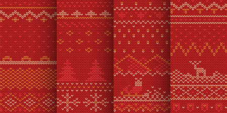 red color winter seamless patterns in set