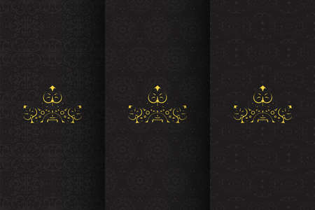 rich black color seamless patterns gold logo Ilustracja