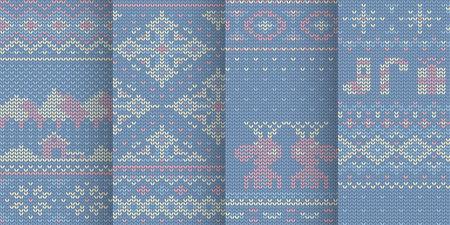 violet winter mood seamless patterns in set