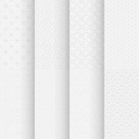 white color classic geometrical seamless patterns set
