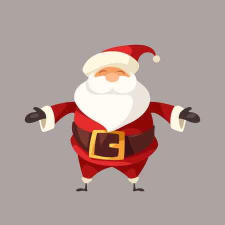 cartoon funny smiling santa claus front view
