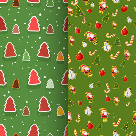 christmas seamless patterns wrapping paper in set Ilustracja