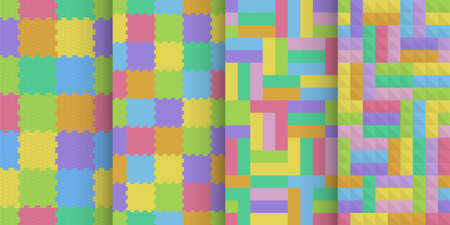 colorful kids floor cover seamless patterns set