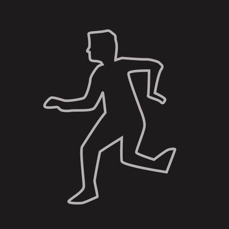 human silhouette chalk outline on dark back Vetores