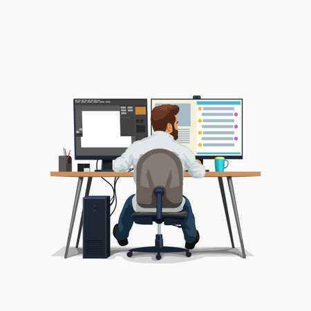 male designer at work sitting at desk Ilustracja