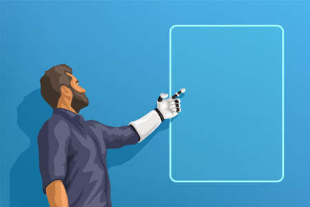 man with white robotic hand on blue