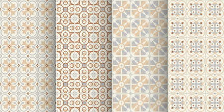 old brown color ceramic tiles seamless pattern