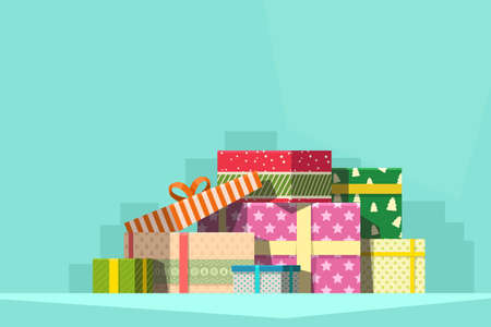 pile of colorful christmas gifts on blue Ilustracja