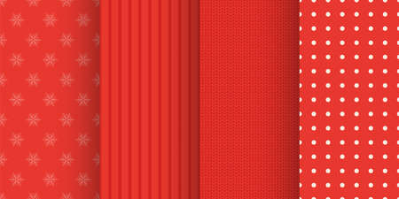 red color christmas red seamless patterns set