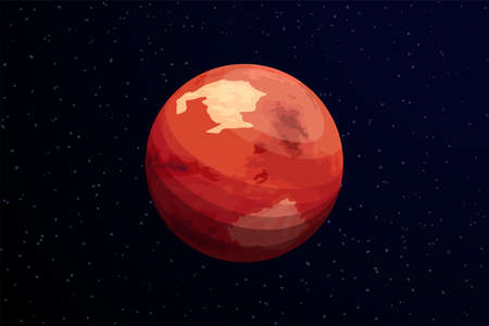red planet mars on dark deep space