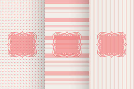 red soft light striped seamless pattern set