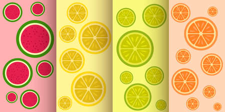 set of various flat fruit seamless patterns Ilustracja