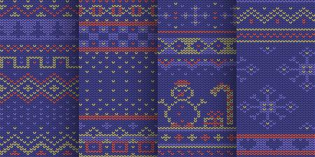 violet winter theme seamless pattern in set Zdjęcie Seryjne