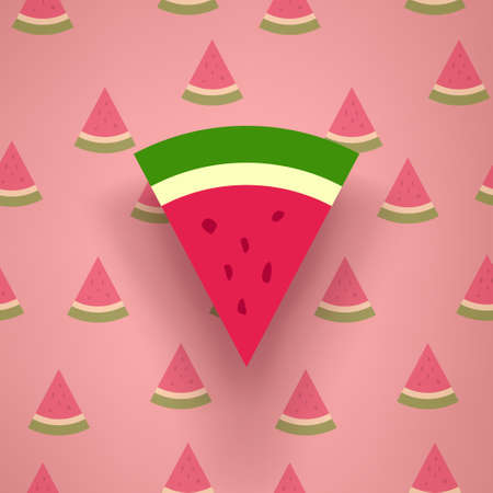 watermelon piece with shadow on pattern back Ilustracja