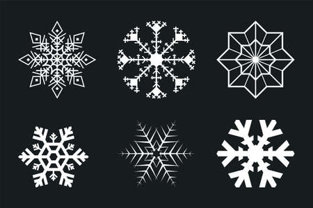 white snowflakes set isolated on black background