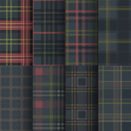 dark blue color tartan seamless pattern set