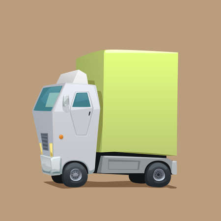 cartoon style delivery white color commercial truck