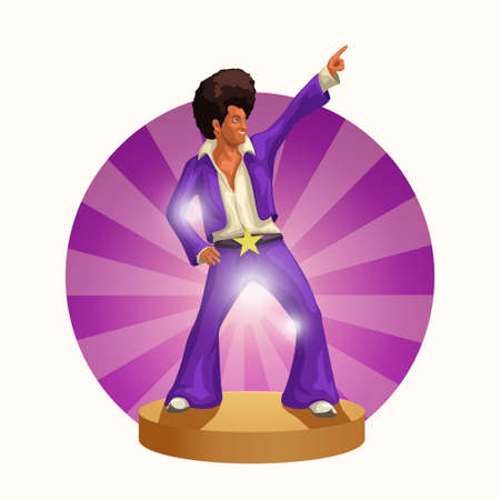 cute man in disco 70s style dancing Ilustracja
