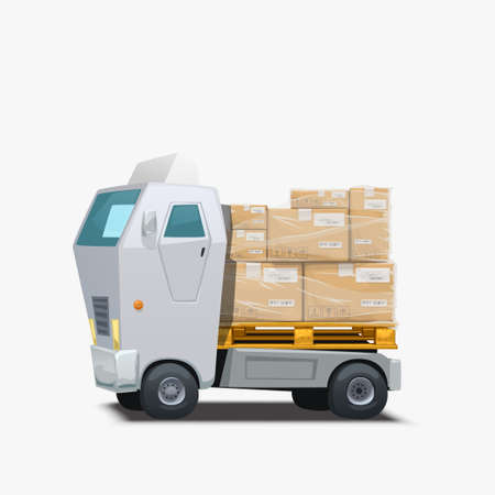 delivery white truck carrying group of parcels